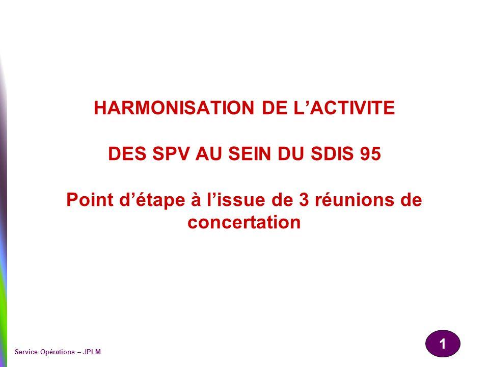 1 Service Opérations – JPLM HARMONISATION DE LACTIVITE DES SPV AU SEIN DU SDIS 95 Point détape à lissue de 3 réunions de concertation