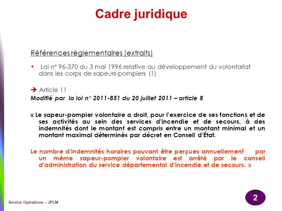 2 Service Opérations – JPLM Cadre juridique Références réglementaires (extraits) Loi n° 96-370 du 3 mai 1996 relative au développement du volontariat