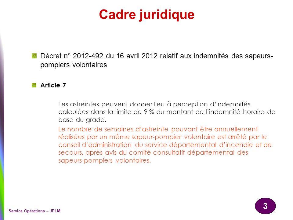 3 Service Opérations – JPLM Cadre juridique Décret n° 2012-492 du 16 avril 2012 relatif aux indemnités des sapeurs- pompiers volontaires Article 7 Les