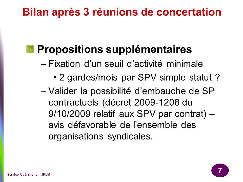 7 Service Opérations – JPLM Bilan après 3 réunions de concertation Propositions supplémentaires –Fixation dun seuil dactivité minimale 2 gardes/mois p