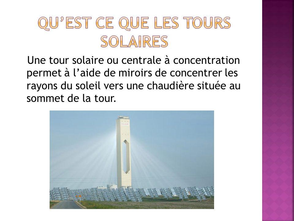 Une tour solaire ou centrale à concentration permet à laide de miroirs de concentrer les rayons du soleil vers une chaudière située au sommet de la tour.