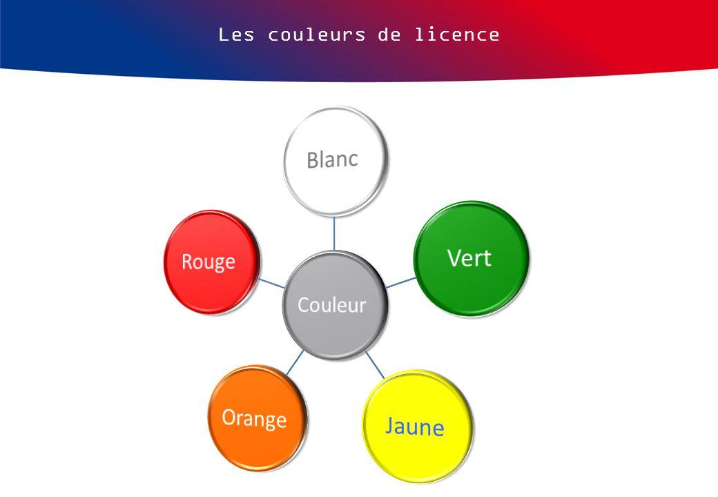 Les couleurs de licence