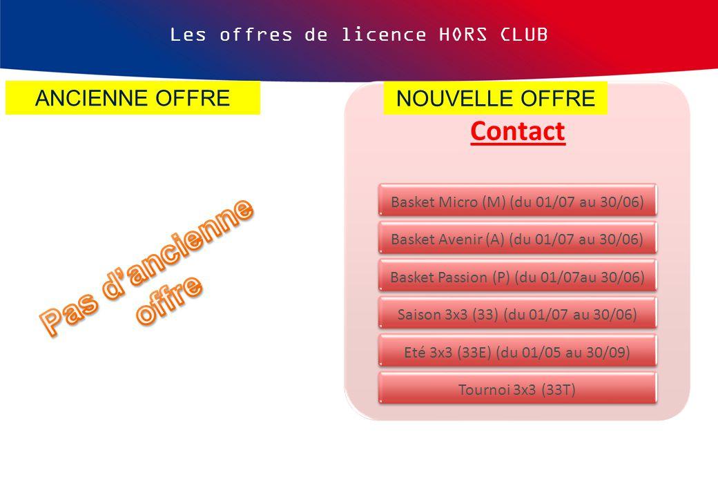 Les offres de licence HORS CLUB Contact Basket Micro (M) (du 01/07 au 30/06) Basket Avenir (A) (du 01/07 au 30/06) Basket Passion (P) (du 01/07au 30/06) Saison 3x3 (33) (du 01/07 au 30/06) Eté 3x3 (33E) (du 01/05 au 30/09) Tournoi 3x3 (33T) ANCIENNE OFFRE NOUVELLE OFFRE