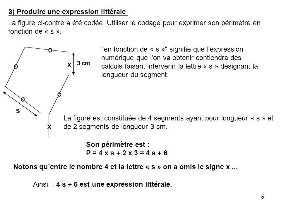 5 3) Produire une expression littérale La figure ci-contre a été codée. Utiliser le codage pour exprimer son périmètre en fonction de « s ».