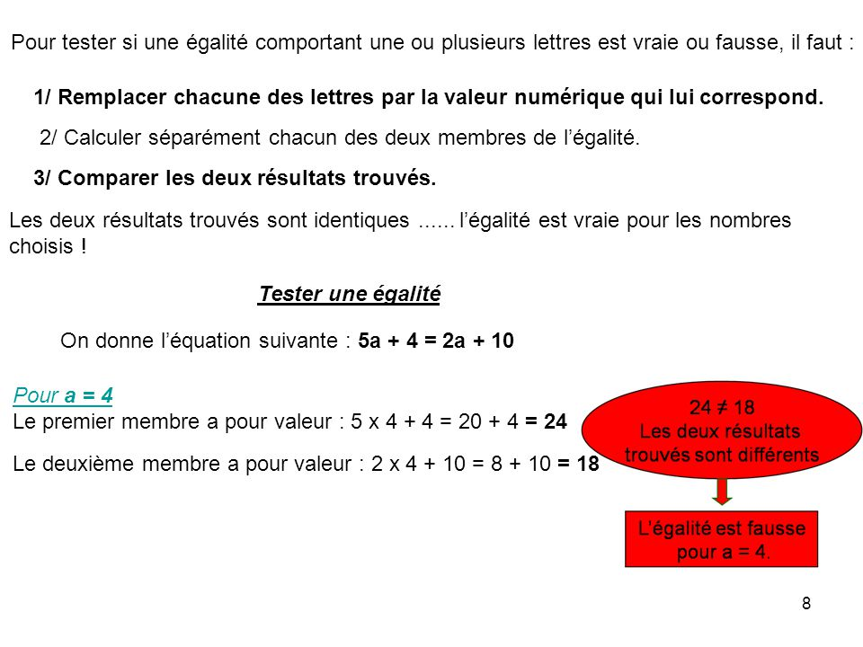 8 Pour tester si une égalité comportant une ou plusieurs lettres est vraie ou fausse, il faut : 1/ Remplacer chacune des lettres par la valeur numériq
