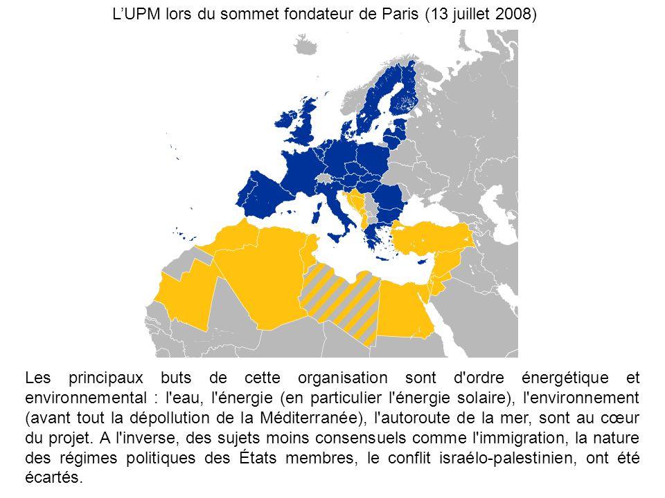 LUPM lors du sommet fondateur de Paris (13 juillet 2008) Les principaux buts de cette organisation sont d'ordre énergétique et environnemental : l'eau