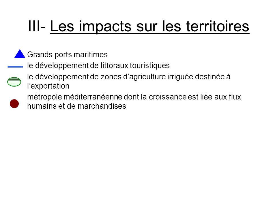 III- Les impacts sur les territoires Grands ports maritimes le développement de littoraux touristiques le développement de zones dagriculture irriguée