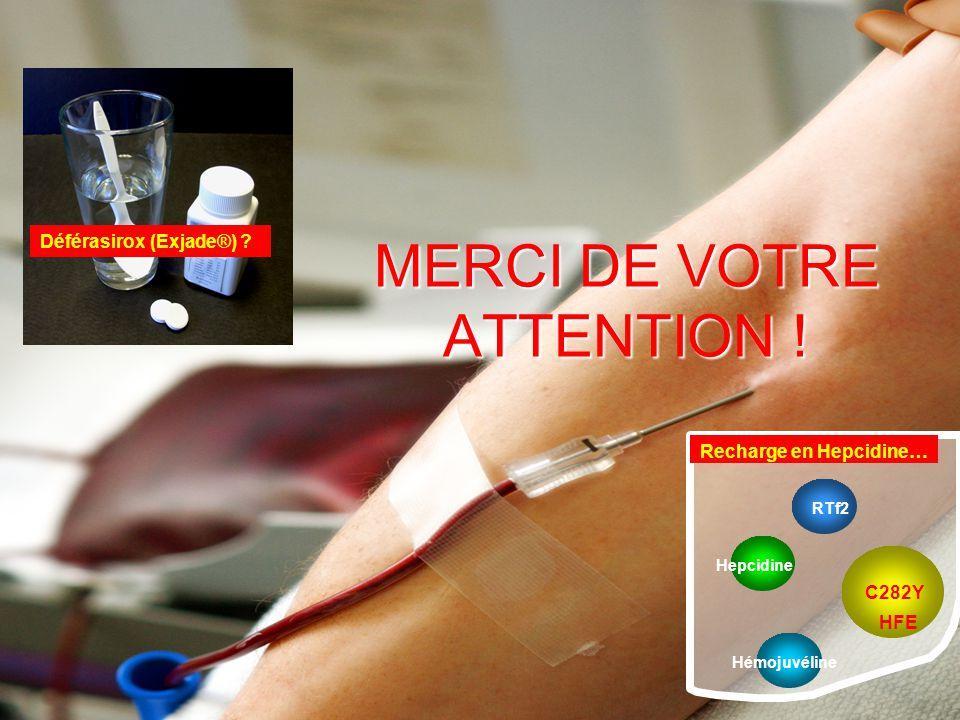 MERCI DE VOTRE ATTENTION ! HFE RTf2 Hémojuvéline Hepcidine C282Y Recharge en Hepcidine… Déférasirox (Exjade®) ?
