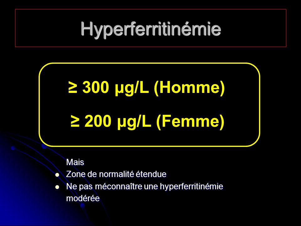 Hyperferritinémie 300 µg/L (Homme) 200 µg/L (Femme) Mais Zone de normalité étendue Zone de normalité étendue Ne pas méconnaître une hyperferritinémie Ne pas méconnaître une hyperferritinémiemodérée