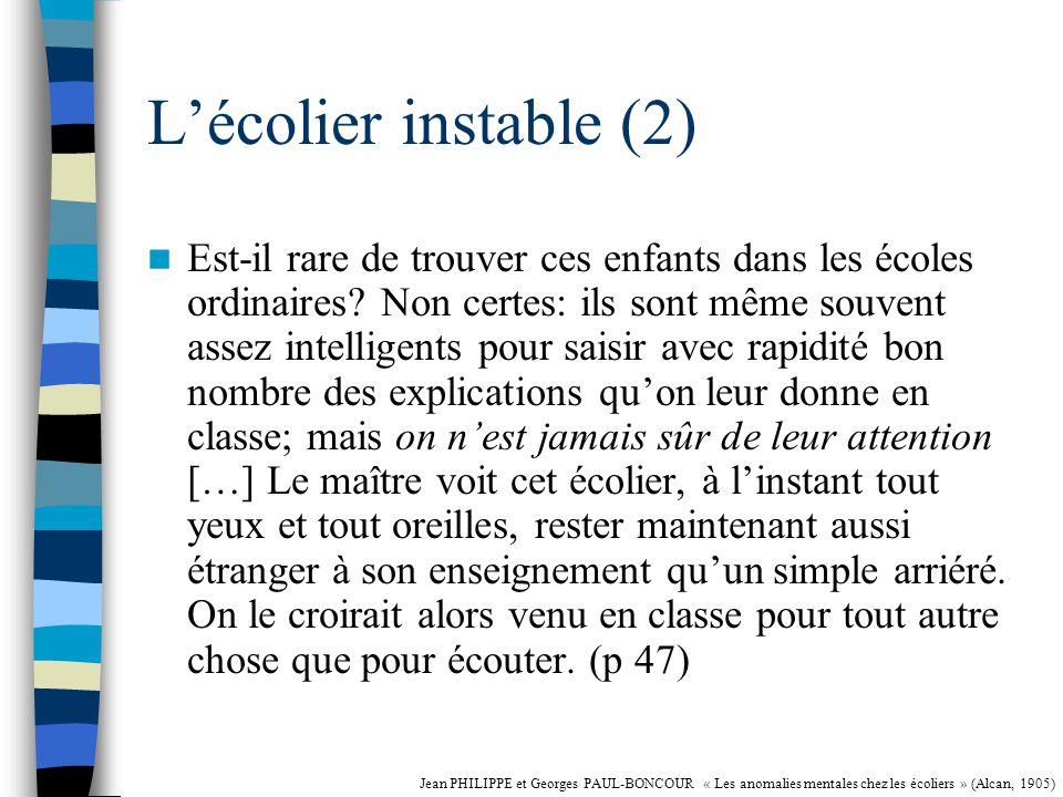 Lécolier instable (1) Ne peut fixer son attention, soit pour écouter, soit pour répondre, soit pour comprendre.