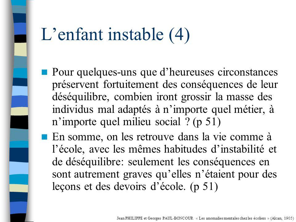 Lenfant instable (3) A lécole on résume volontiers toutes ces tares nerveuses par lépithète dindisciplinés.