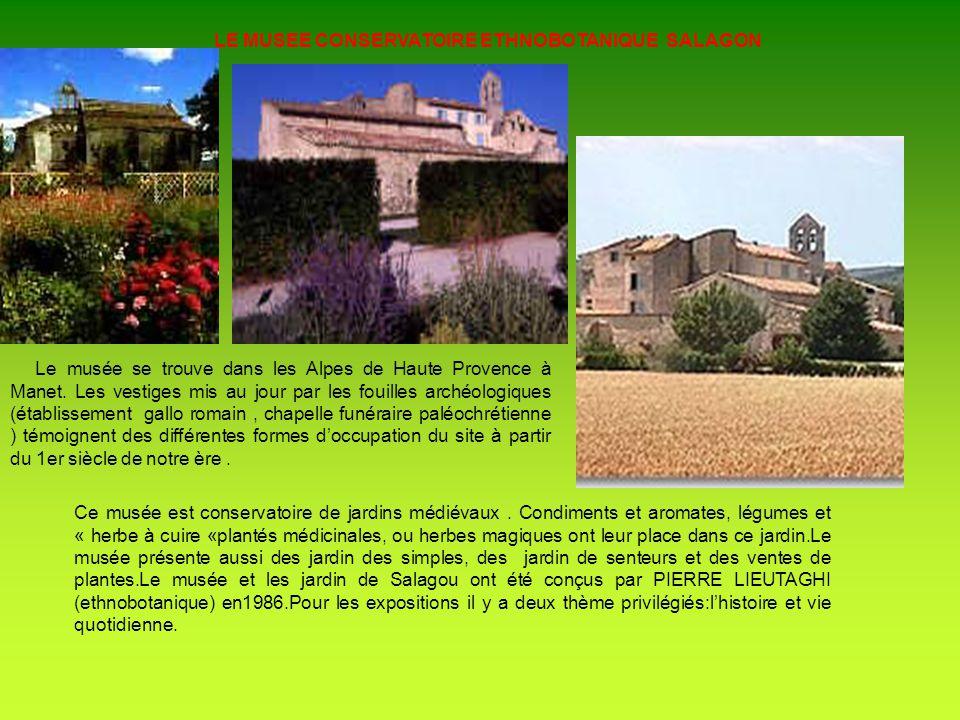 LE MUSEE CONSERVATOIRE ETHNOBOTANIQUE SALAGON Le musée se trouve dans les Alpes de Haute Provence à Manet. Les vestiges mis au jour par les fouilles a