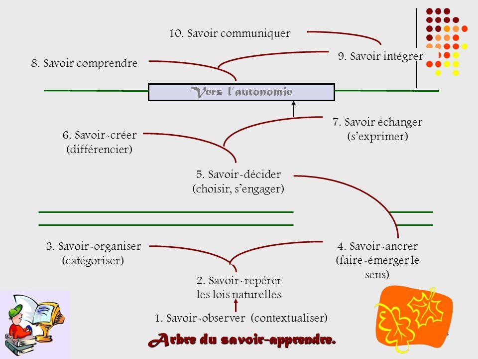 14 Arbre du savoir-apprendre. 1. Savoir-observer (contextualiser) 2.