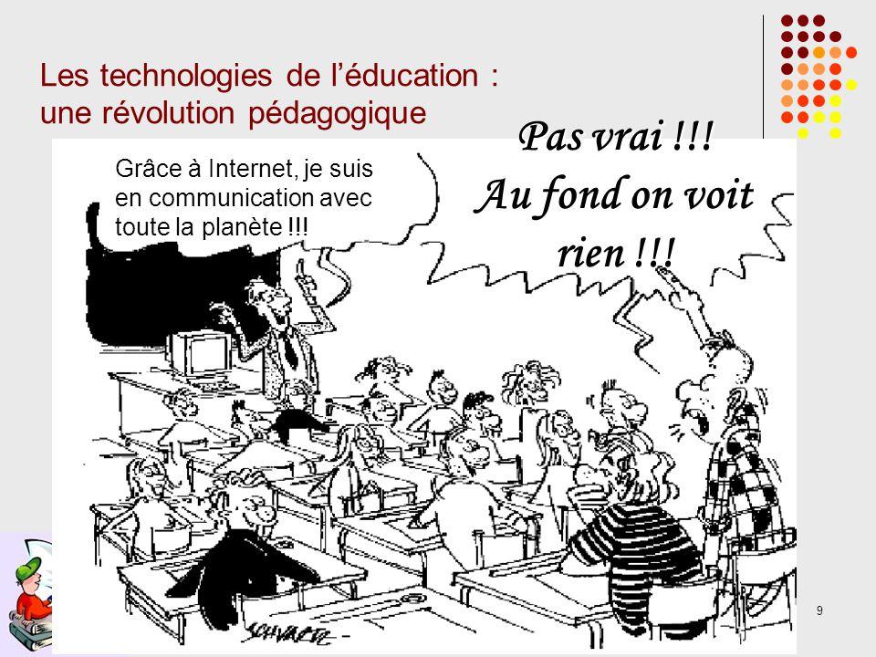 9 Les technologies de léducation : une révolution pédagogique Grâce à Internet, je suis en communication avec toute la planète !!.