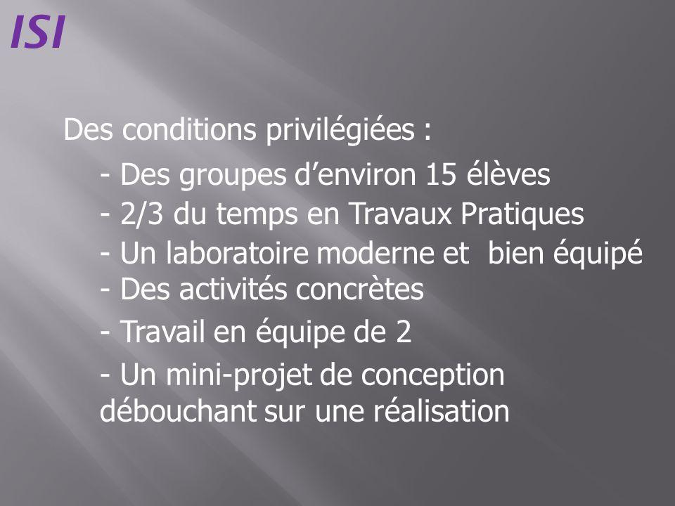 Des conditions privilégiées : - Des groupes denviron 15 élèves - 2/3 du temps en Travaux Pratiques - Des activités concrètes - Travail en équipe de 2
