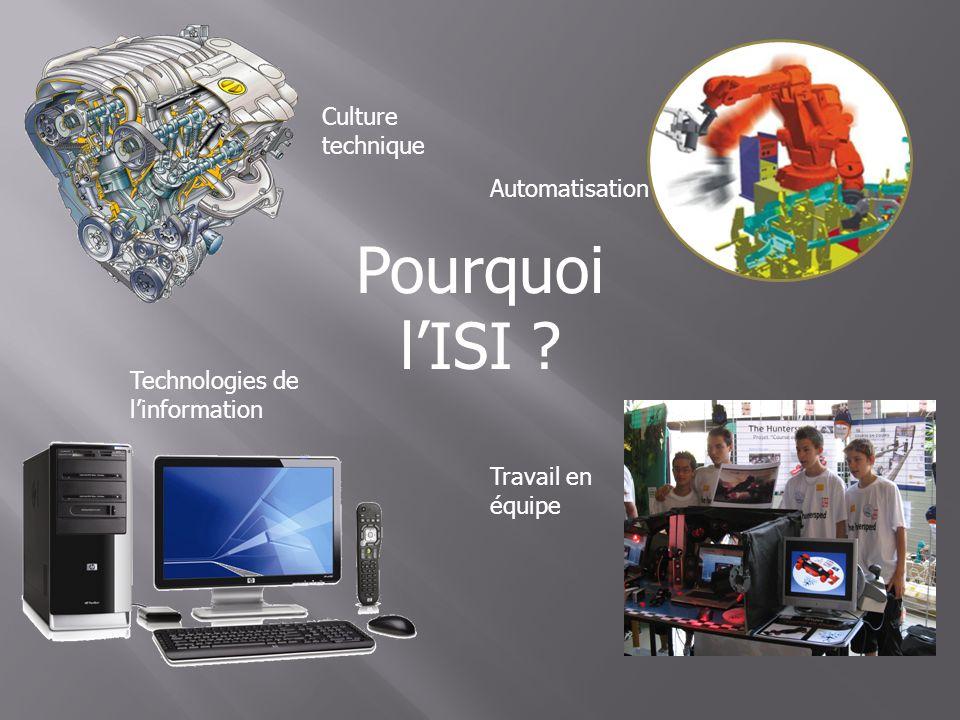 Culture technique Automatisation Technologies de linformation Pourquoi lISI ? Travail en équipe