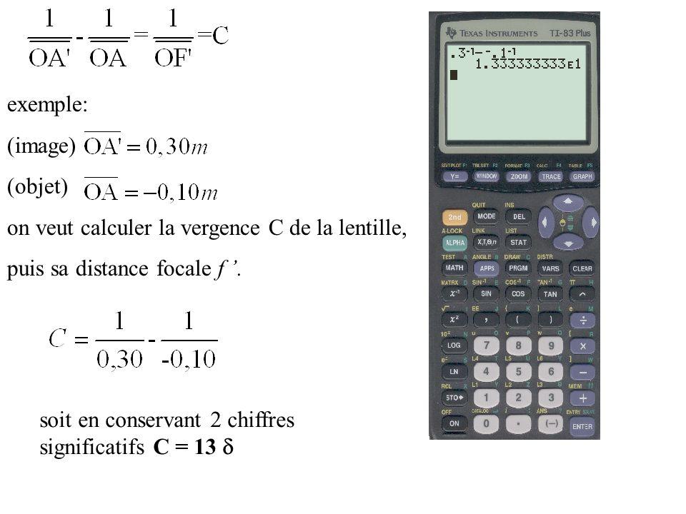 exemple: (image) (objet) on veut calculer la vergence C de la lentille, puis sa distance focale f. soit en conservant 2 chiffres significatifs C = 13