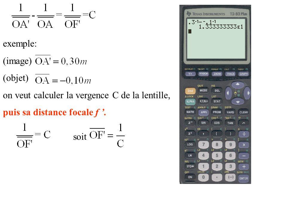 exemple: (image) (objet) on veut calculer la vergence C de la lentille, puis sa distance focale f. soit