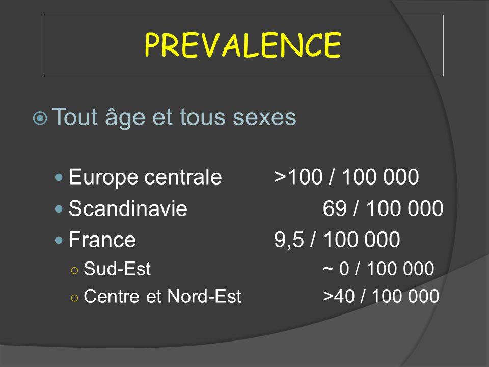 PREVALENCE Tout âge et tous sexes Europe centrale>100 / 100 000 Scandinavie69 / 100 000 France9,5 / 100 000 Sud-Est~ 0 / 100 000 Centre et Nord-Est>40