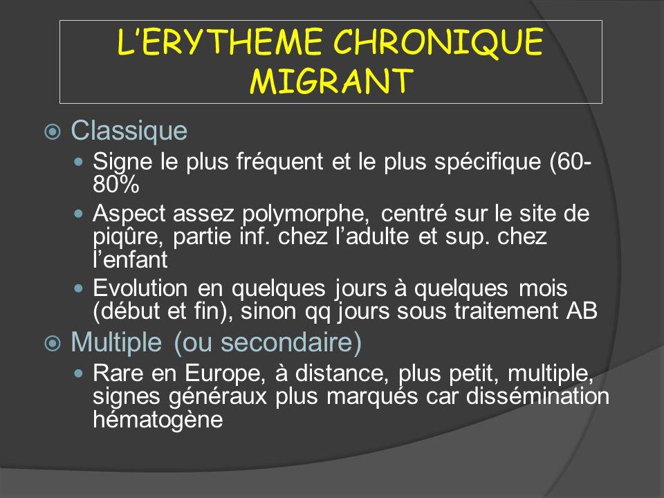 LERYTHEME CHRONIQUE MIGRANT Classique Signe le plus fréquent et le plus spécifique (60- 80% Aspect assez polymorphe, centré sur le site de piqûre, par
