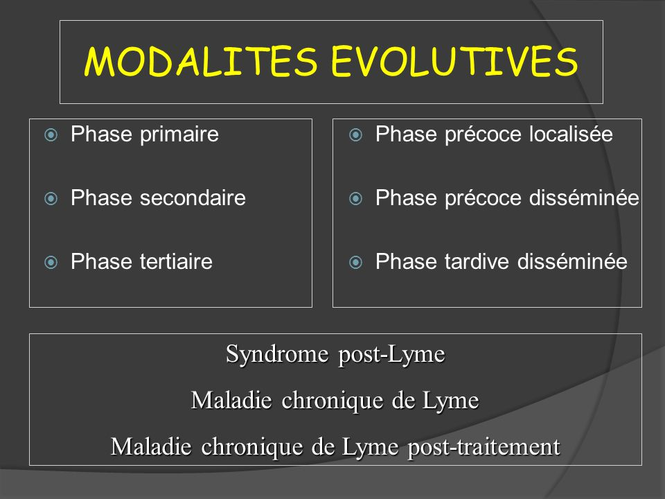 PHASE PRIMAIRE ADULTE Choix préférentiel Amoxicilline 1 g x 3/j 14-21 j Doxycycline 100 mg x 2/j 14-21 j Alternative 1 Cefuroxime 500 mg x 2/j14-21 j Alternative 2 Azithromycine 500 mg x 1/j10 j