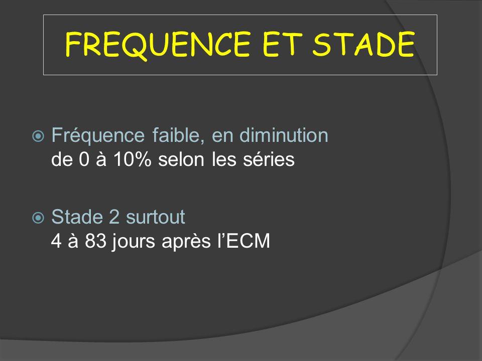 FREQUENCE ET STADE Fréquence faible, en diminution de 0 à 10% selon les séries Stade 2 surtout 4 à 83 jours après lECM