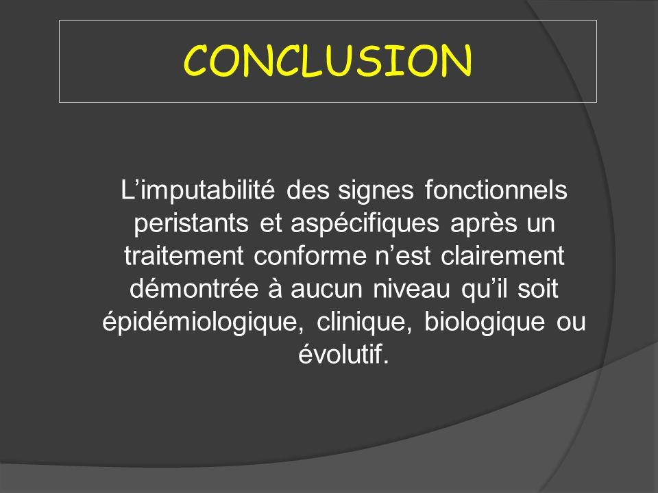 CONCLUSION Limputabilité des signes fonctionnels peristants et aspécifiques après un traitement conforme nest clairement démontrée à aucun niveau quil