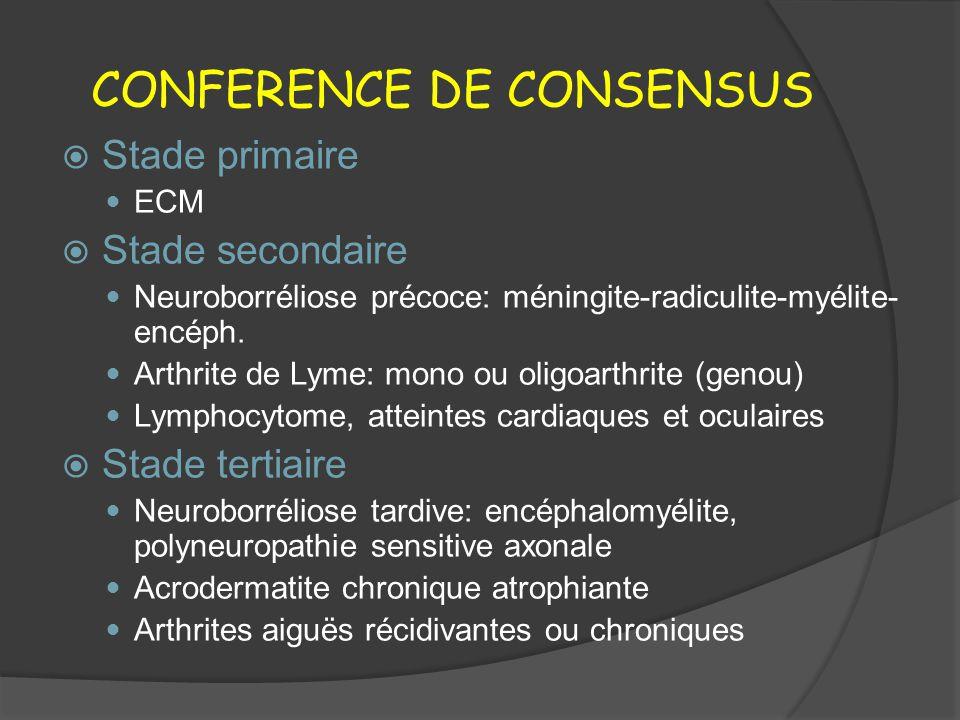 CONFERENCE DE CONSENSUS Stade primaire ECM Stade secondaire Neuroborréliose précoce: méningite-radiculite-myélite- encéph. Arthrite de Lyme: mono ou o