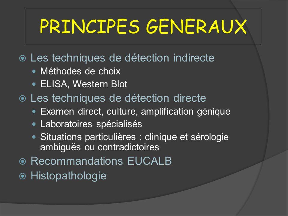 PRINCIPES GENERAUX Les techniques de détection indirecte Méthodes de choix ELISA, Western Blot Les techniques de détection directe Examen direct, cult