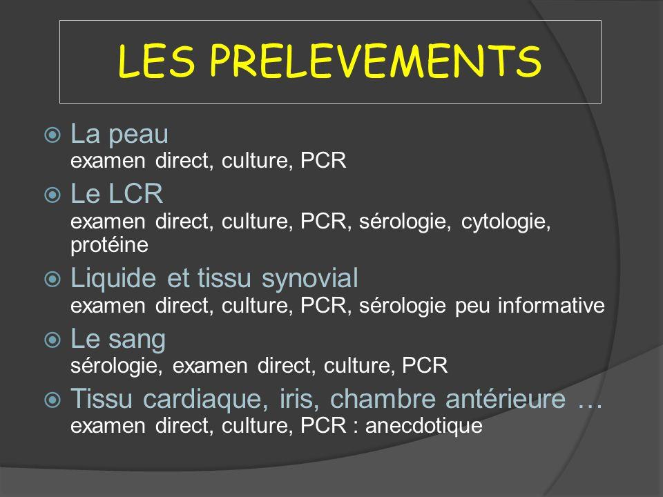 LES PRELEVEMENTS La peau examen direct, culture, PCR Le LCR examen direct, culture, PCR, sérologie, cytologie, protéine Liquide et tissu synovial exam