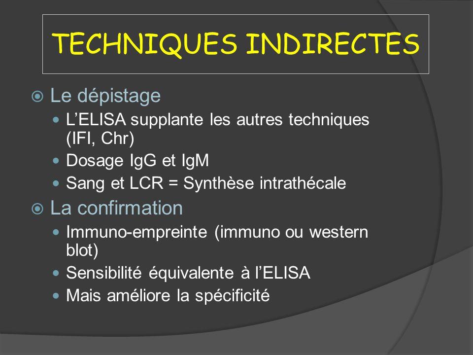 TECHNIQUES INDIRECTES Le dépistage LELISA supplante les autres techniques (IFI, Chr) Dosage IgG et IgM Sang et LCR = Synthèse intrathécale La confirma
