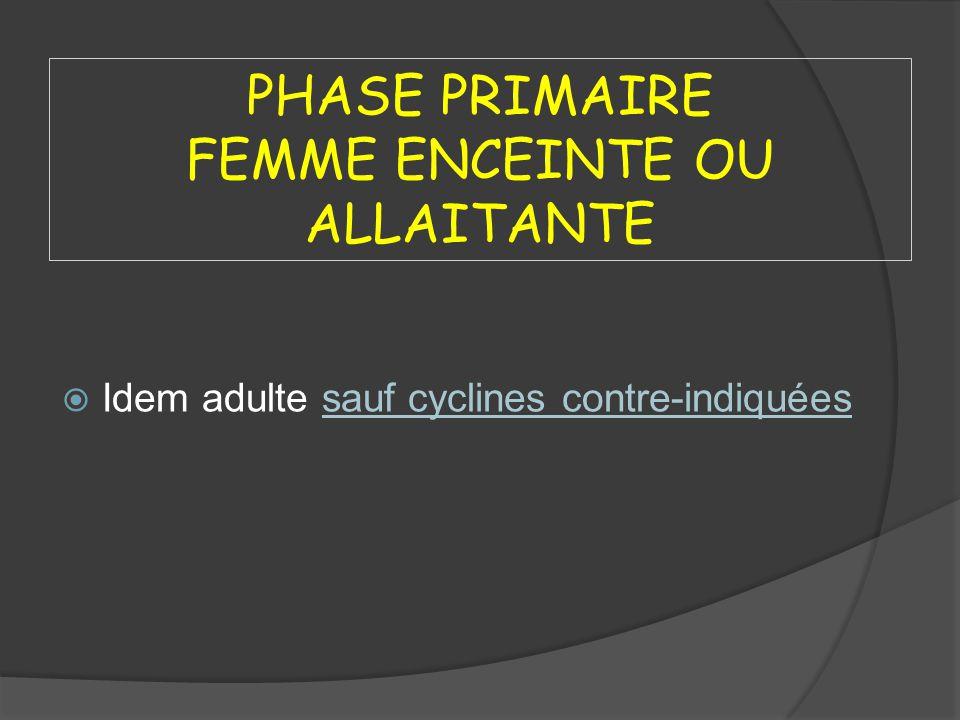 PHASE PRIMAIRE FEMME ENCEINTE OU ALLAITANTE Idem adulte sauf cyclines contre-indiquées