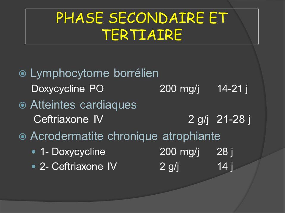 PHASE SECONDAIRE ET TERTIAIRE Lymphocytome borrélien Doxycycline PO200 mg/j14-21 j Atteintes cardiaques Ceftriaxone IV2 g/j21-28 j Acrodermatite chron