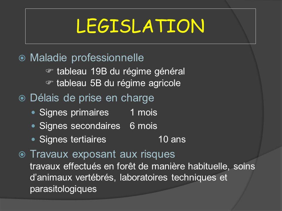 LEGISLATION Maladie professionnelle tableau 19B du régime général tableau 5B du régime agricole Délais de prise en charge Signes primaires1 mois Signe