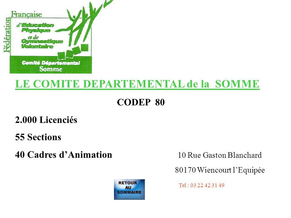 LE COMITE DEPARTEMENTAL de la SOMME CODEP 80 2.000 Licenciés 55 Sections 40 Cadres dAnimation 10 Rue Gaston Blanchard 80170 Wiencourt lEquipée Tel : 03 22 42 31 49