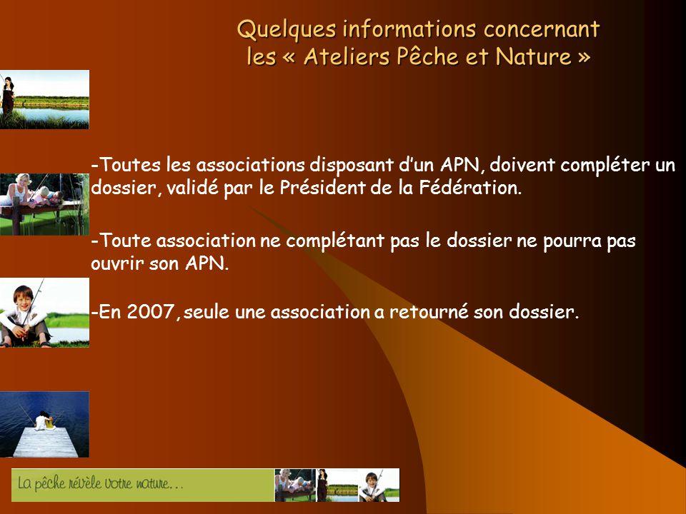 Quelques informations concernant les « Ateliers Pêche et Nature » -Toutes les associations disposant dun APN, doivent compléter un dossier, validé par le Président de la Fédération.