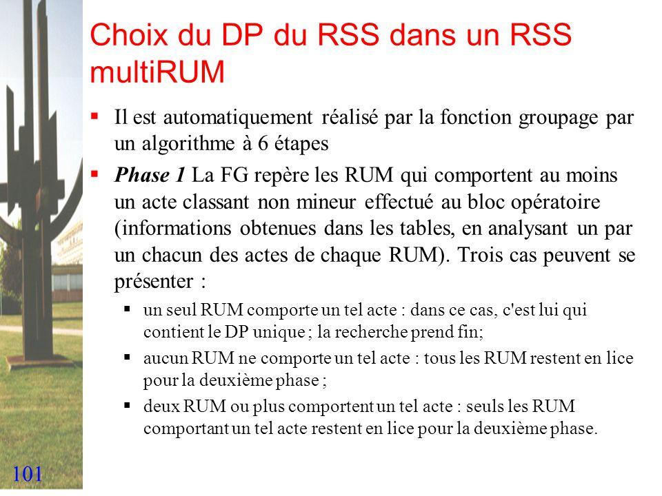 101 Choix du DP du RSS dans un RSS multiRUM Il est automatiquement réalisé par la fonction groupage par un algorithme à 6 étapes Phase 1 La FG repère