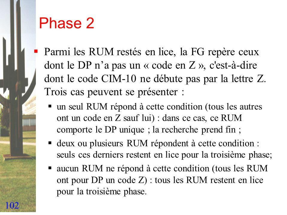 102 Phase 2 Parmi les RUM restés en lice, la FG repère ceux dont le DP na pas un « code en Z », c'est-à-dire dont le code CIM-10 ne débute pas par la