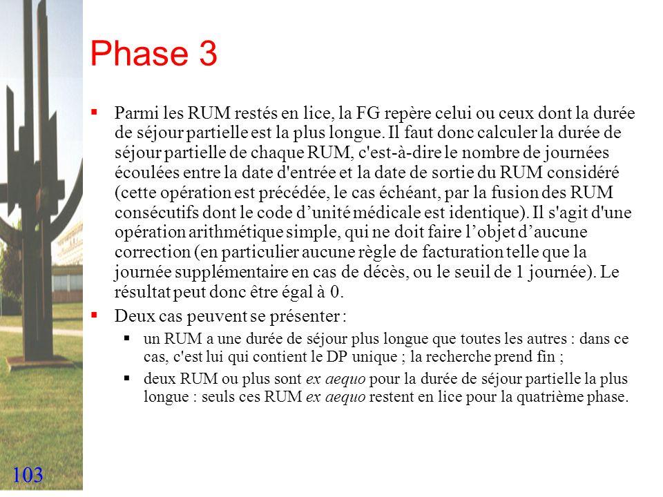 103 Phase 3 Parmi les RUM restés en lice, la FG repère celui ou ceux dont la durée de séjour partielle est la plus longue. Il faut donc calculer la du