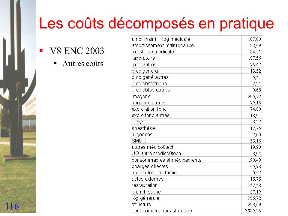 116 Les coûts décomposés en pratique V8 ENC 2003 Autres coûts