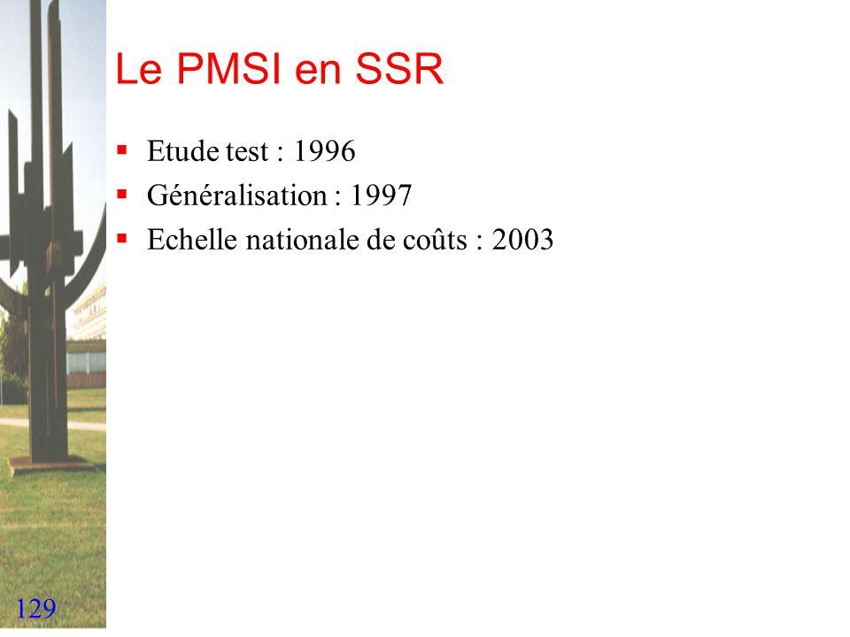 129 Le PMSI en SSR Etude test : 1996 Généralisation : 1997 Echelle nationale de coûts : 2003