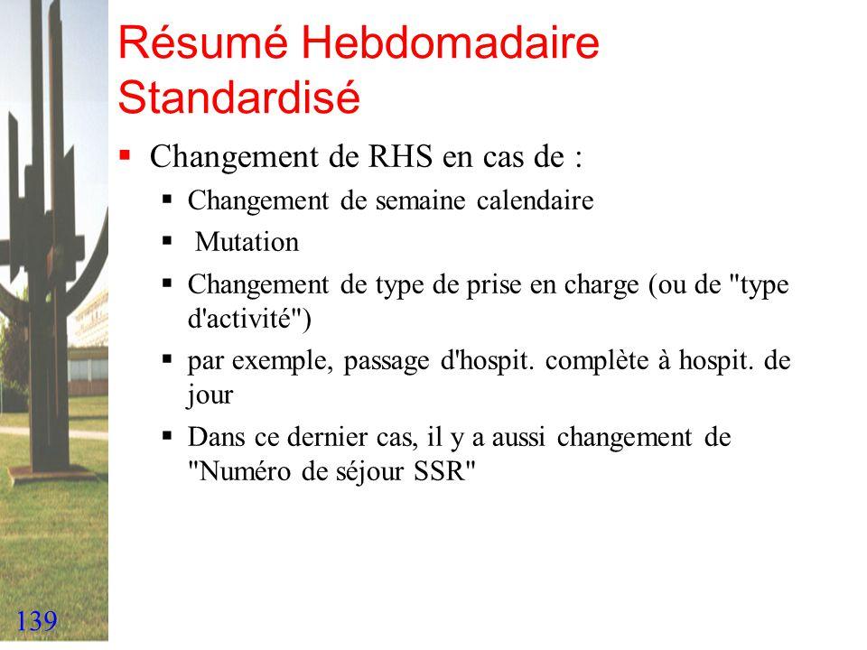 139 Résumé Hebdomadaire Standardisé Changement de RHS en cas de : Changement de semaine calendaire Mutation Changement de type de prise en charge (ou