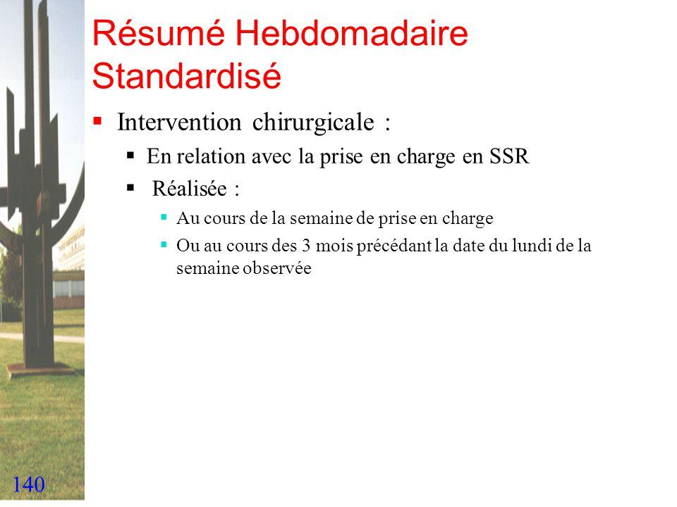 140 Résumé Hebdomadaire Standardisé Intervention chirurgicale : En relation avec la prise en charge en SSR Réalisée : Au cours de la semaine de prise