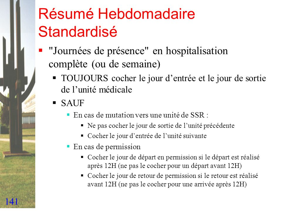 141 Résumé Hebdomadaire Standardisé