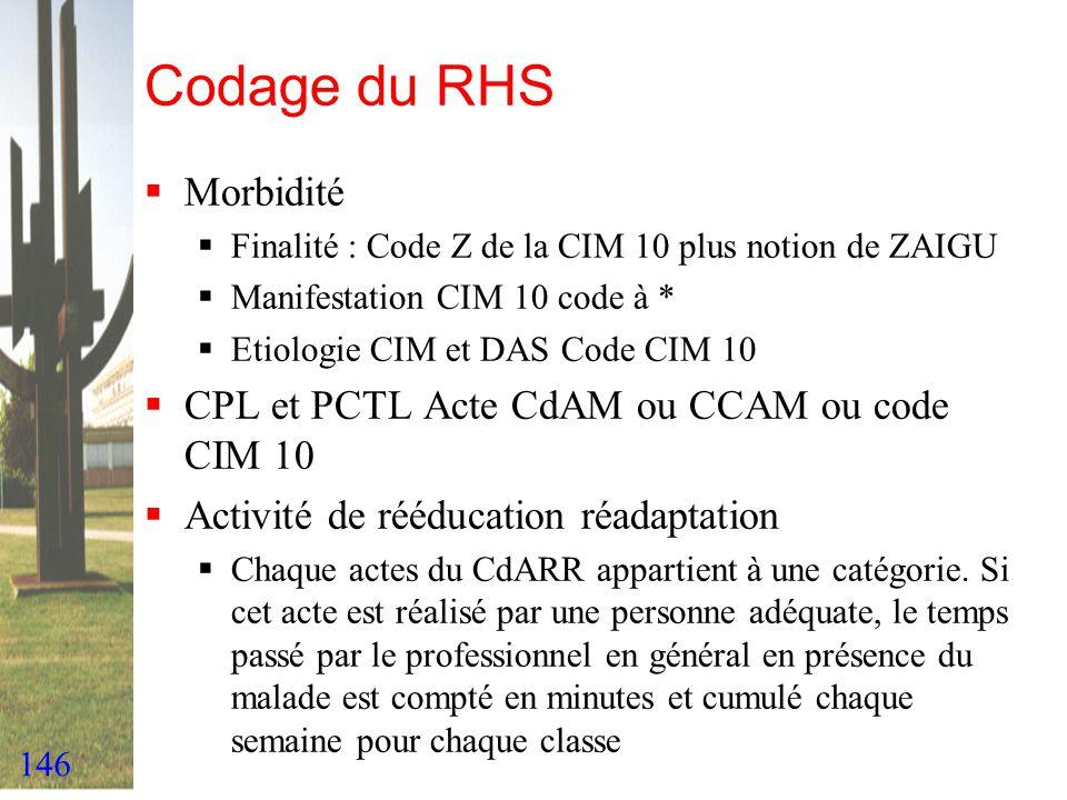 146 Codage du RHS Morbidité Finalité : Code Z de la CIM 10 plus notion de ZAIGU Manifestation CIM 10 code à * Etiologie CIM et DAS Code CIM 10 CPL et