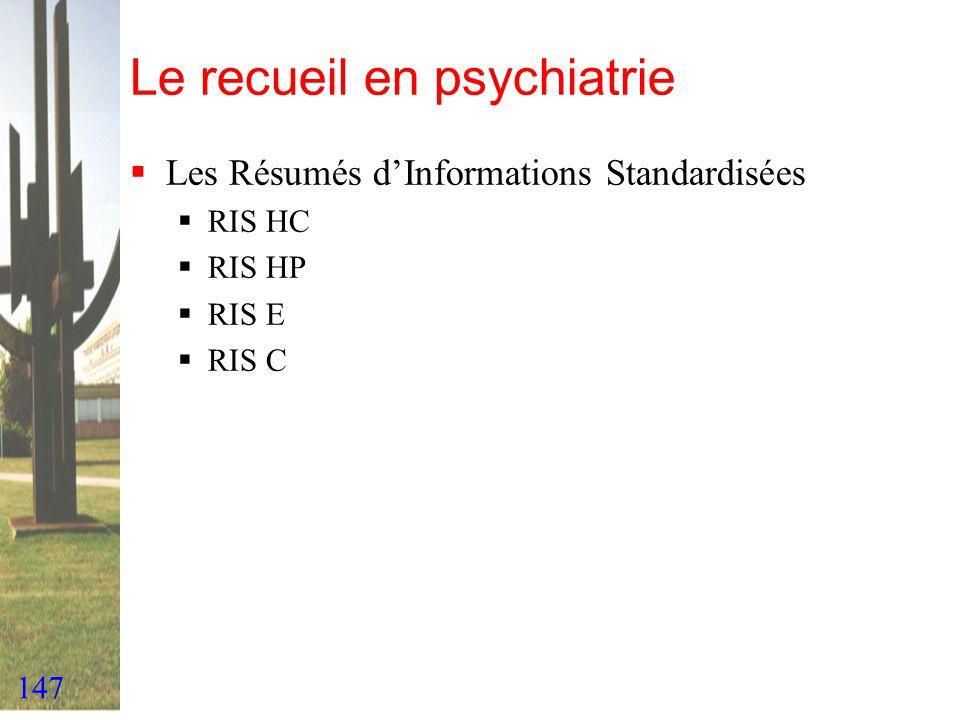 147 Le recueil en psychiatrie Les Résumés dInformations Standardisées RIS HC RIS HP RIS E RIS C
