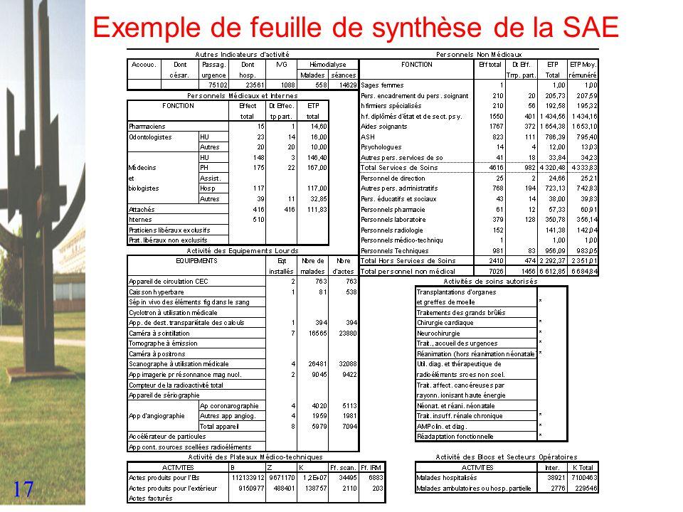 17 Exemple de feuille de synthèse de la SAE