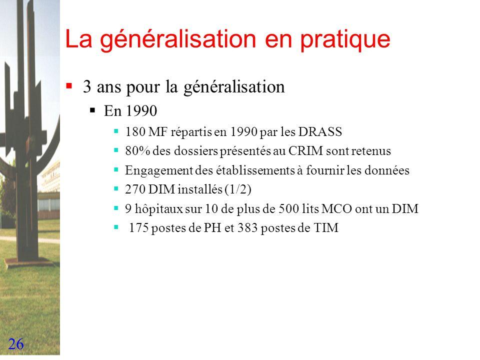 26 La généralisation en pratique 3 ans pour la généralisation En 1990 180 MF répartis en 1990 par les DRASS 80% des dossiers présentés au CRIM sont re