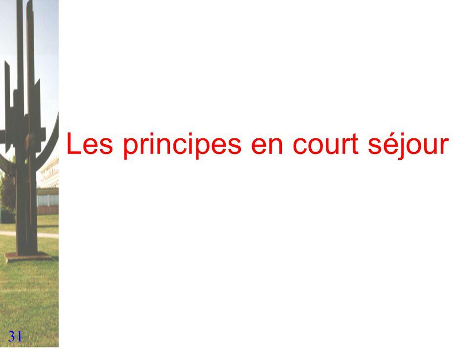 31 Les principes en court séjour