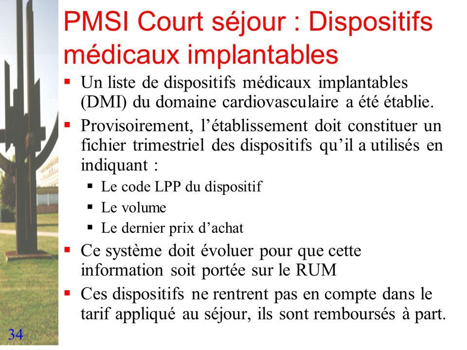 34 PMSI Court séjour : Dispositifs médicaux implantables Un liste de dispositifs médicaux implantables (DMI) du domaine cardiovasculaire a été établie